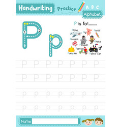 Letter p uppercase and lowercase tracing practice vector