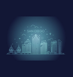 Linear san diego city skyline background vector