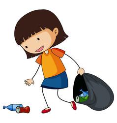 Little girl picking up trash vector