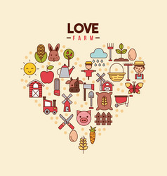 Love farm flat vector