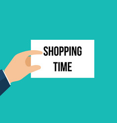 man showing paper shopping time text vector image
