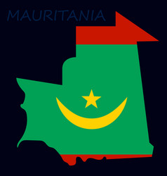map of mauritania with flag vector image