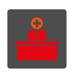 Medical bureaucrat flat button vector