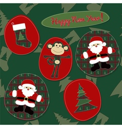 Monkey Happy New Year - patchwork card vector image