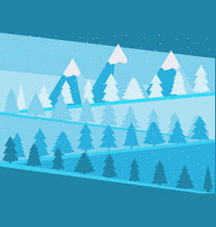 Mountain landscape with christmas trees snowy vector