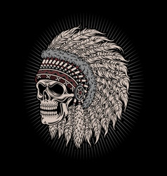 Native American Indian Chief Skull vector image