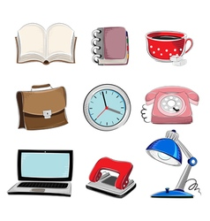 Office supplies icons set vector image