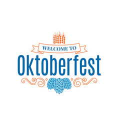 Oktoberfest vintage lettering with hops and wheat vector