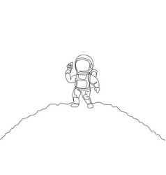 one single line drawing astronaut walking om moon vector image