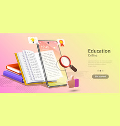 Online education concept landing page template vector