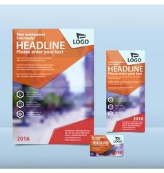 Orange brochure flyer and card design vector