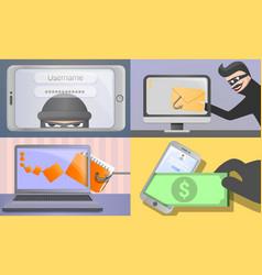 Phishing banner set cartoon style vector