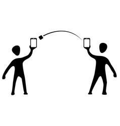 Phone transfer silhouette symbols vector