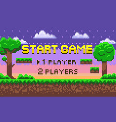 pixel start game green location adventure vector image