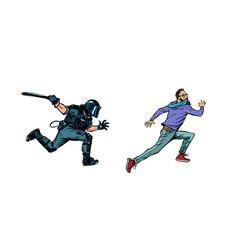 Police arrest hipster protest vector