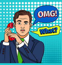 pop art surprised man with phone vector image