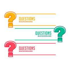 Question mark banners for help and support vector