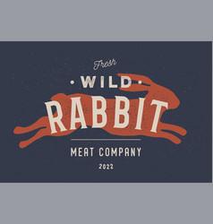 Rabbit vintage logo retro print poster vector