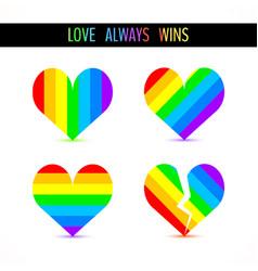 rainbow hearts symbols vector image