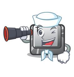 Sailor with binocular button t in keyboard vector