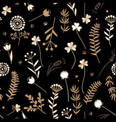 seamless floral pattern with doodle leaves and vector image