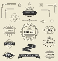 set of retro vintage linear thin line art deco vector image