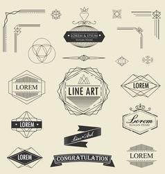 Set retro vintage linear thin line art deco vector