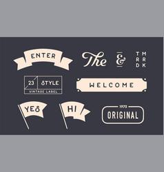 set vintage graphic design elements linear vector image