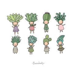 set with cute cartoon succulents cactus and aloe vector image