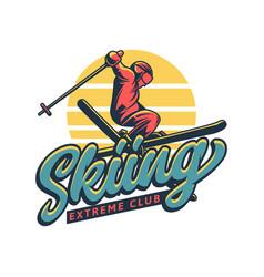 skiing extreme club t shirt design skier jump vector image