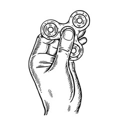 spinner in hand engraving vector image