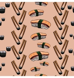 Sushi hand drawing background vector image vector image