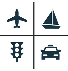 Transport icons set collection of stoplight cab vector