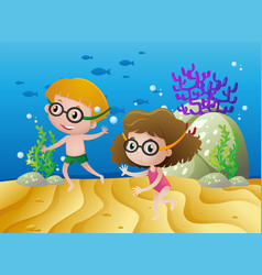Two kids diving under the sea vector