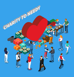 volunteer charity people isometric concept vector image