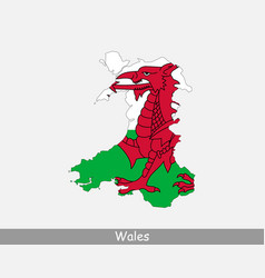 Wales map flag vector