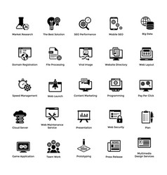 Web and graphic designing glyph icons set 3 vector