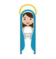 White background of beautiful virgin with blue vector