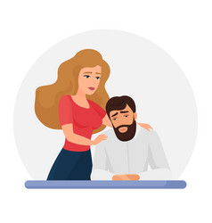 Wife supporting depressed husband flat vector