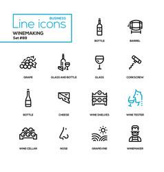 Winemaking - modern line design icons set vector