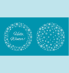Winter blue background and frame with snowflakes vector