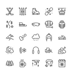 Winter sports line icons cold weather outdoor vector