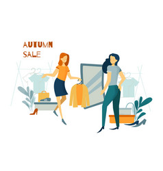 Woman shopping purchases clothes and footwear vector