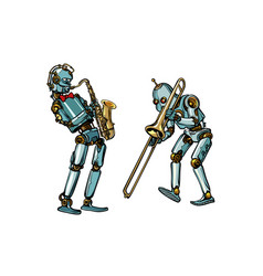 Brass band musicians robots saxophone and vector
