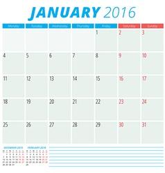 Calendar 2016 flat design template January Week vector image vector image