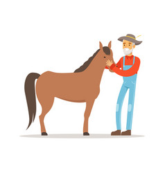 Old farmer man caring for his horse farming and vector
