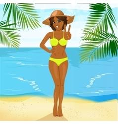 beautiful african american woman in bikini vector image