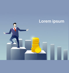 business man walk financial chart bar to coin vector image vector image