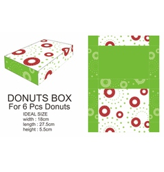 Dark Red and Green Donuts Box vector image vector image
