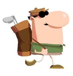 Male Golfer Carrying A Bag On His Back vector image vector image